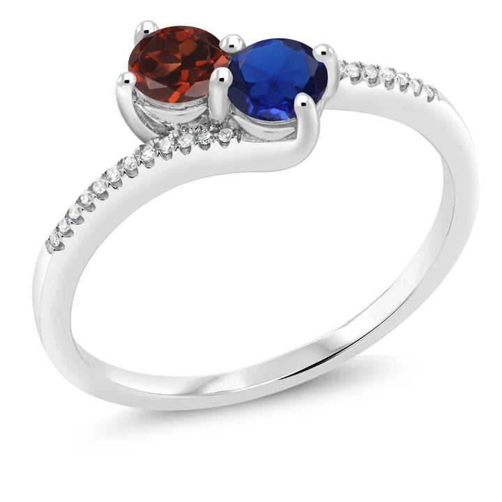 "Gem Stone King 10K White Gold ""Forever United"" Two-stone Diamond Right-hand Engagement Birthstone Ring Round Red Garnet Blue Simulated Sapphire (0.79 cttw)"