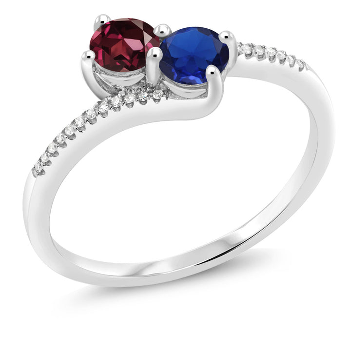 "Gem Stone King 10K White Gold ""Forever United"" Two-stone Diamond Right-hand Engagement Birthstone Ring Red Rhodolite Garnet Blue Simulated Sapphire (0.79 cttw)"