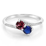 0.79 Ct Round Red Rhodolite Garnet Blue Simulated Sapphire 10K White Gold Ring
