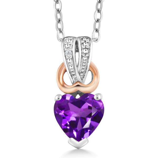 0.43 Ct Heart Shape Purple Amethyst White Diamond 925 Sterling Silver Pendant