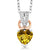 0.47 Ct Heart Shape Yellow Citrine White Diamond 925 Sterling Silver Pendant