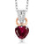 0.61 Ct Heart Shape Red Created Ruby White Diamond 925 Sterling Silver Pendant