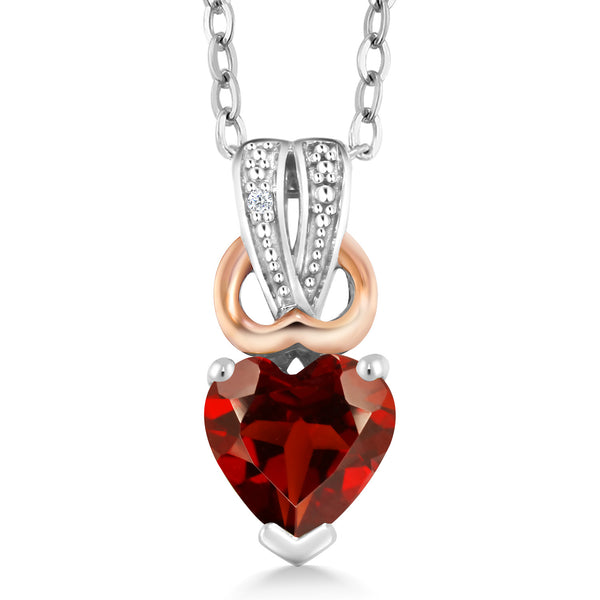 0.61 Ct Heart Shape Red Garnet White Diamond 925 Sterling Silver Pendant