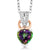 0.61 Ct Heart Shape Green Mystic Topaz White Diamond 925 Sterling Silver Pendant