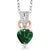 0.51 Ct Green Simulated Emerald White Diamond 925 Sterling Silver Pendant