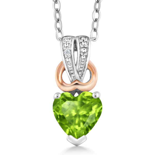 0.51 Ct Heart Shape Green Peridot White Diamond 925 Sterling Silver Pendant