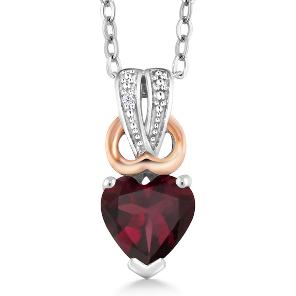 0.56 Ct Heart Shape Red Rhodolite Garnet White Diamond 925 Silver Pendant