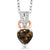 0.45 Ct Heart Shape Brown Smoky Quartz White Diamond 925 Sterling Silver Pendant