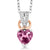 0.45 Ct Heart Shape Pink Tourmaline White Diamond 925 Sterling Silver Pendant