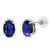 1.17 Ct Oval Blue Sapphire White Diamond 10K White Gold Earrings