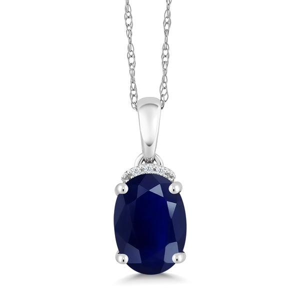 2.52 Ct Oval Blue Sapphire White Diamond 10K White Gold Pendant