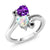 1.43 Ct Heart Shape Purple Amethyst White Simulated Opal 10K White Gold Ring