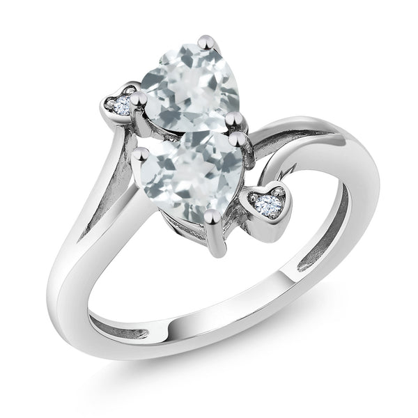 1.37 Ct Heart Shape Sky Blue Aquamarine 10K White Gold Ring