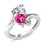 1.50 Ct Sky Blue Aquamarine Pink Created Sapphire 10K White Gold Ring