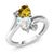 1.48 Ct Heart Shape Yellow Citrine White Simulated Opal 10K White Gold Ring