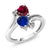 1.80 Ct Heart Shape Red Created Ruby Blue Simulated Sapphire 10K White Gold Ring