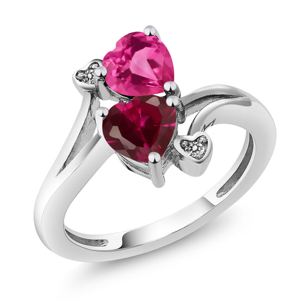 1.80 Ct Heart Shape Pink Created Sapphire Red Created Ruby 10K White Gold Ring