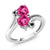 1.63 Ct Heart Shape Pink Created Sapphire 10K White Gold Ring