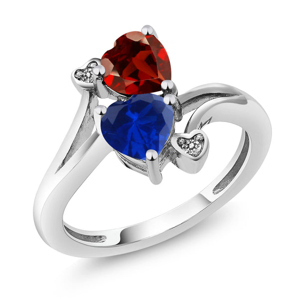 1.73 Ct Heart Shape Red Garnet Blue Simulated Sapphire 10K White Gold Ring