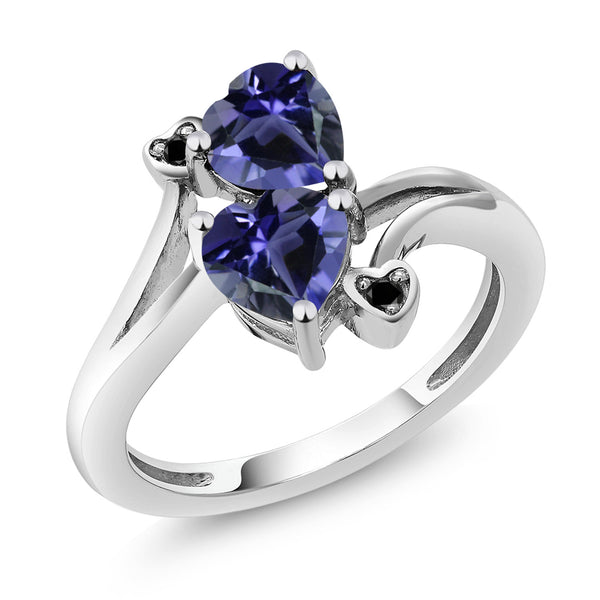 1.19 Ct Heart Shape Blue Iolite 10K White Gold Ring