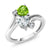 1.53 Ct Heart Shape Green Peridot Sky Blue Aquamarine 10K White Gold Ring