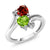 1.76 Ct Heart Shape Green Peridot Red Garnet 10K White Gold Ring