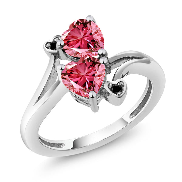 10K White Gold Diamond Ring 6mm Set with Fancy Pink Zirconia from Swarovski