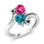 1.78 Ct Heart Shape London Blue Topaz Pink Created Sapphire 10K White Gold Ring