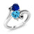 1.78 Ct Heart Shape Swiss Blue Topaz Blue Simulated Sapphire 10K White Gold Ring