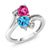 1.93 Ct Heart Shape Swiss Blue Topaz Pink Mystic Topaz 10K White Gold Ring