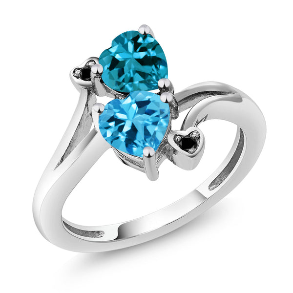 1.93 Ct Heart Shape Swiss Blue Topaz London Blue Topaz 10K White Gold Ring