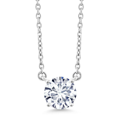 DEW GHI Created Moissanite by Charles /& Colvard and Aquamarine 18K Rose Gold Plated Silver Pendant Forever Brilliant Heart Shape 0.50ct