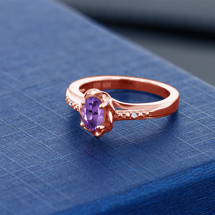 0.37 Ct Oval Purple Amethyst 18K Rose Gold Plated Silver Ring