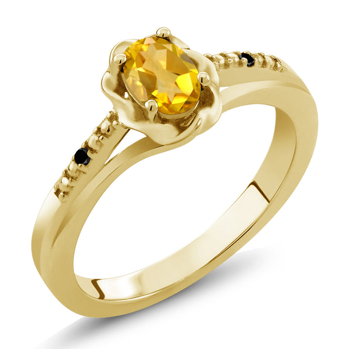 Gem Stone King 0.41 Ct Oval Yellow Citrine Black Diamond 18K Yellow Gold Plated Silver Ring