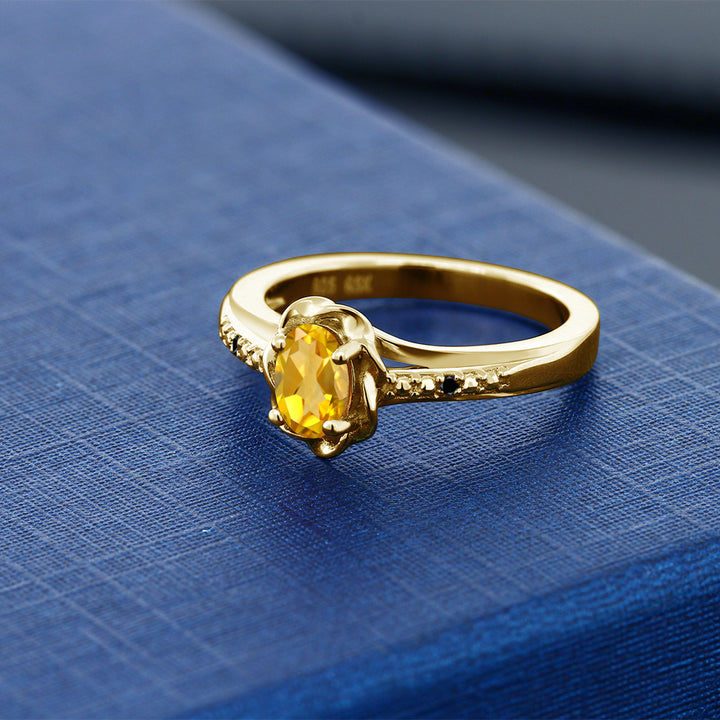0.41 Ct Oval Yellow Citrine Black Diamond 18K Yellow Gold Plated Silver Ring