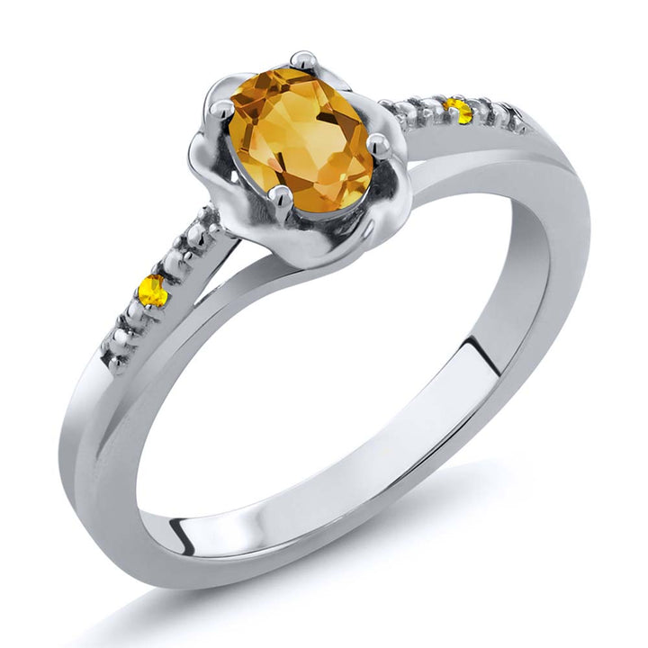 Gem Stone King 0.42 Ct Oval Yellow Citrine Yellow Sapphire 925 Sterling Silver Ring