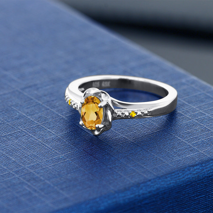0.42 Ct Oval Yellow Citrine Yellow Sapphire 925 Sterling Silver Ring