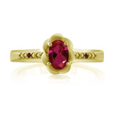 0.52 Ct Oval Red Created Ruby Red Garnet 18K Yellow Gold Plated Silver Ring