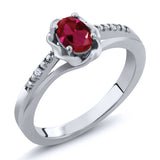 Gem Stone King 0.52 Ct Oval Red Created Ruby White Topaz 925 Sterling Silver Ring