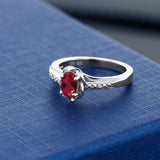 0.52 Ct Oval Red Created Ruby White Topaz 925 Sterling Silver Ring