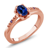 Gem Stone King 0.51 Ct Blue Simulated Sapphire Purple Amethyst 18K Rose Gold Plated Silver Ring