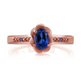 0.51 Ct Blue Simulated Sapphire Purple Amethyst 18K Rose Gold Plated Silver Ring