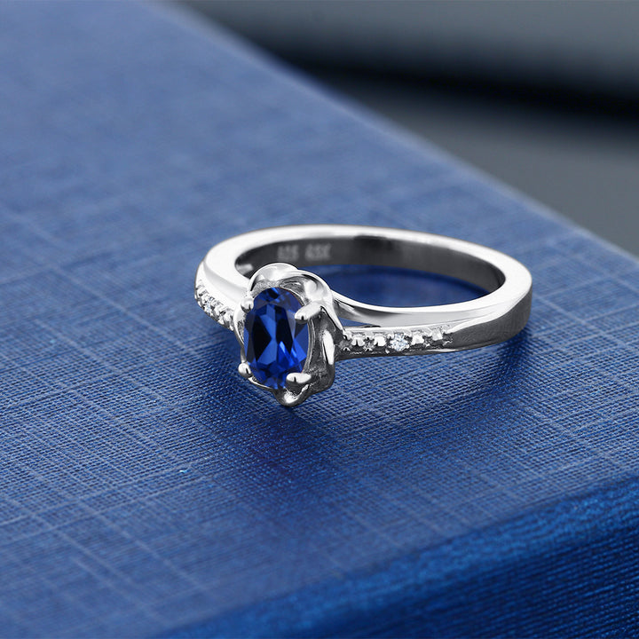 0.52 Ct Blue Simulated Sapphire White Created Sapphire 925 Sterling Silver Ring