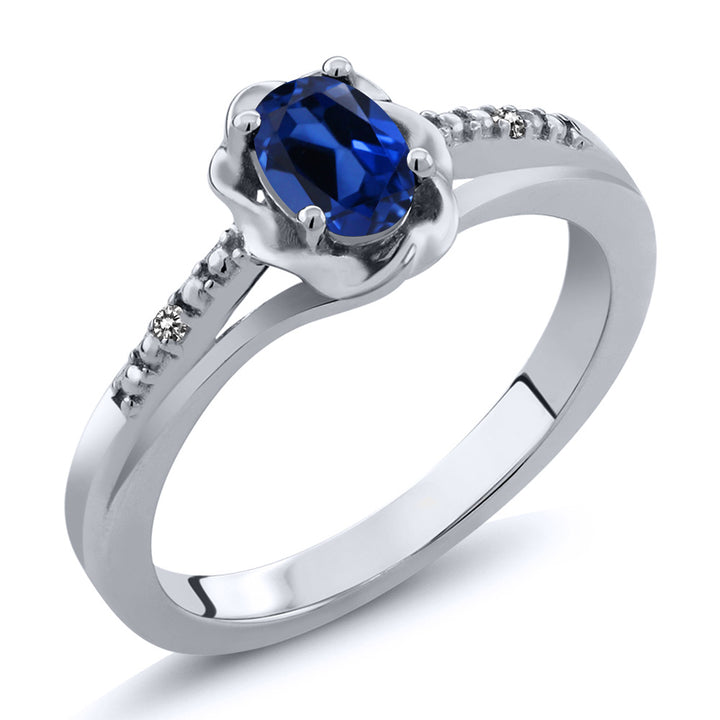 Gem Stone King 0.51 Ct Oval Blue Simulated Sapphire White Diamond 925 Sterling Silver Ring