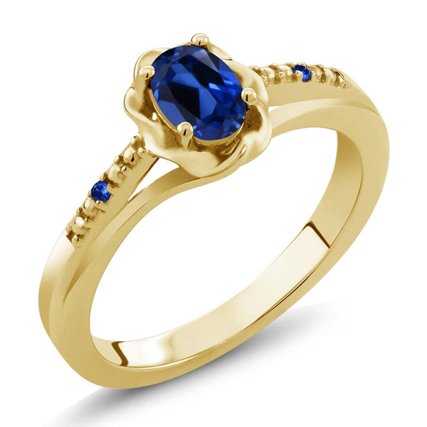 Gem Stone King 0.52 Ct Blue Simulated Sapphire Blue Sapphire 18K Yellow Gold Plated Silver Ring
