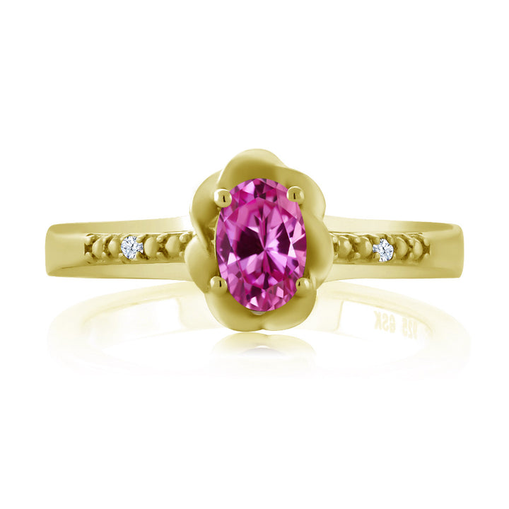 0.52 Ct Oval Pink Created Sapphire 18K Yellow Gold Plated Silver Ring