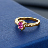 0.52 Ct Oval Pink Created Sapphire Red Garnet 18K Yellow Gold Plated Silver Ring