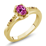 Gem Stone King 0.52 Ct Oval Pink Created Sapphire Red Garnet 18K Yellow Gold Plated Silver Ring