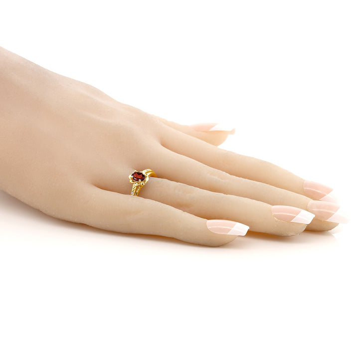 0.52 Ct Oval Red Garnet White Topaz 18K Yellow Gold Plated Silver Ring
