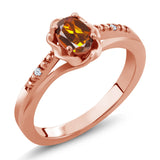 Gem Stone King 0.42 Ct Orange Red Madeira Citrine White Created Sapphire 18K Rose Gold Plated Silver Ring